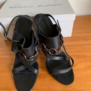 Manolo Blahnik black strappy heels